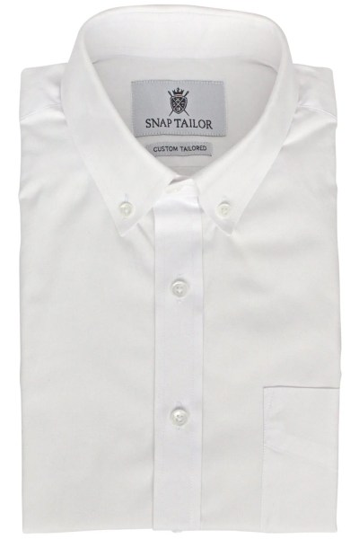 Oxford Solid Dress Shirt in White   Snap Tailor Photo of the Oxford Solid Dress Shirt in White