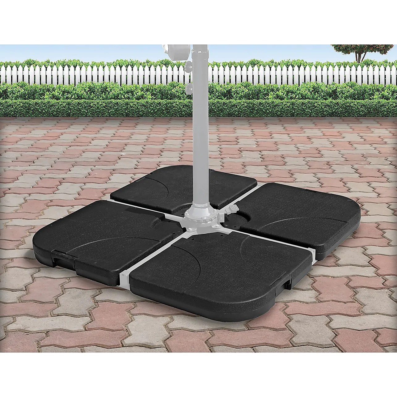 outdoor patio 4 piece cantilever offset 3m umbrella base stand weight water sand