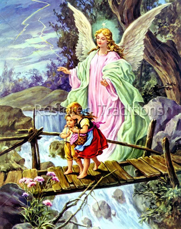 Stock Art Image Guardian Angel Guiding Children Over