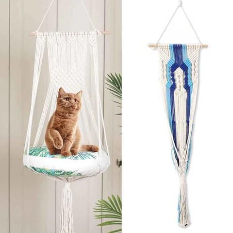 Macrame Cat Swing Hammock Bed