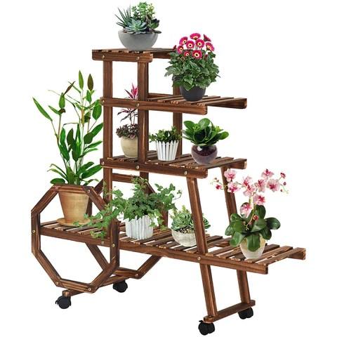 Movable Flower Pot Rack & Bookshelf with Wheels