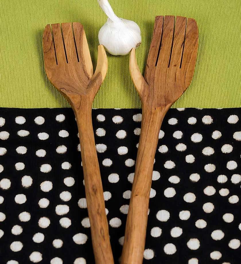 Wood Amp Bone Salad Server Hands African Wood Carving