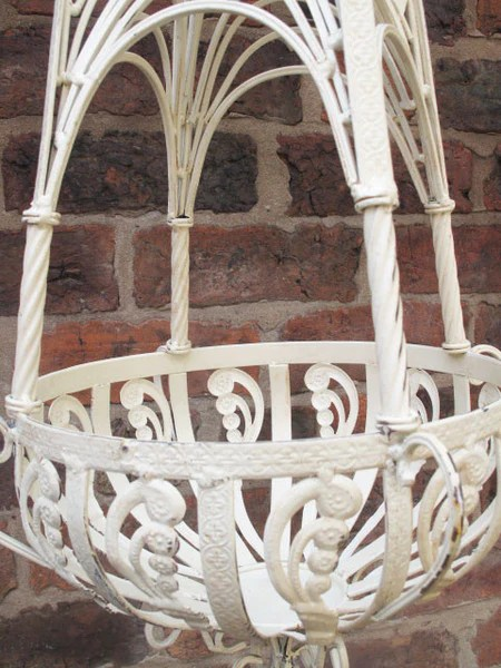 Pair Of Cream Metal Hanging Baskets
