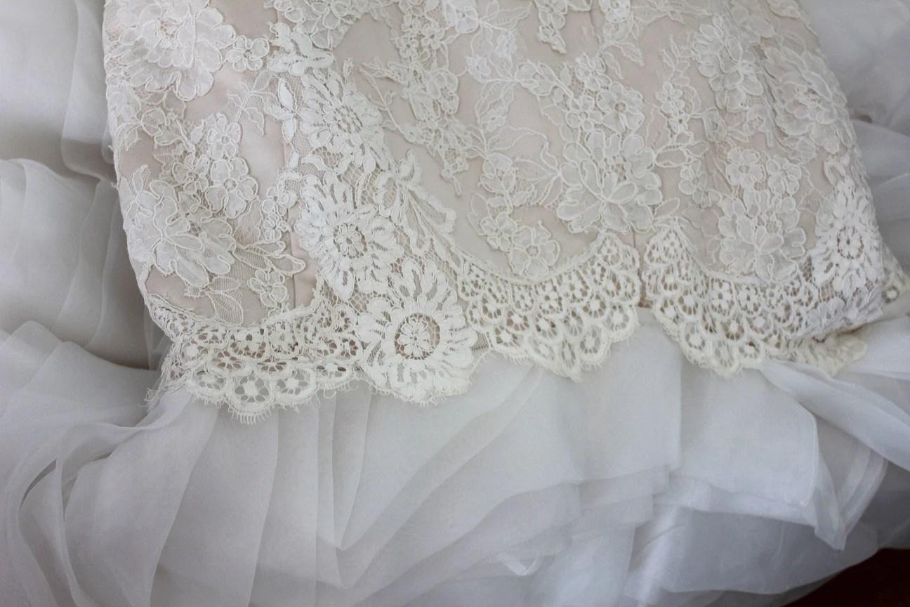 French Lace Scallop Hem Mermaid Wedding Dress With Organza