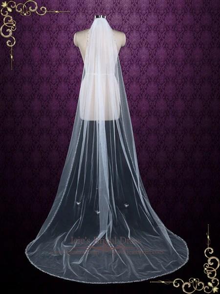Chapel Length Single Layer Tulle Veil With Beaded Edge