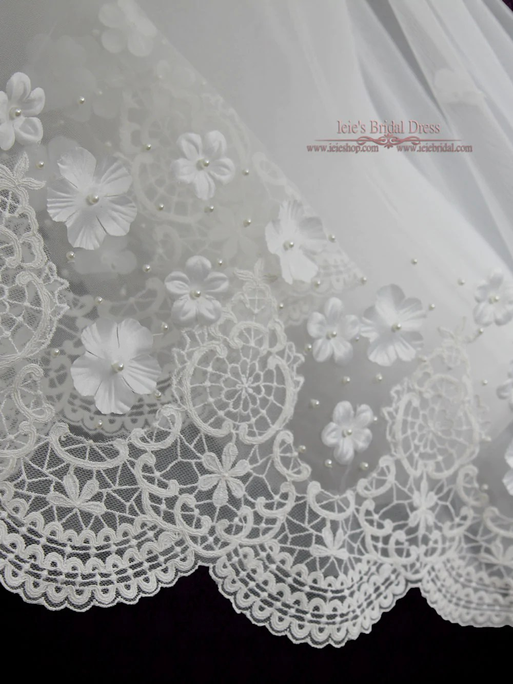 Cathedral Length Mantilla Lace Veil With Flowers And Pearl