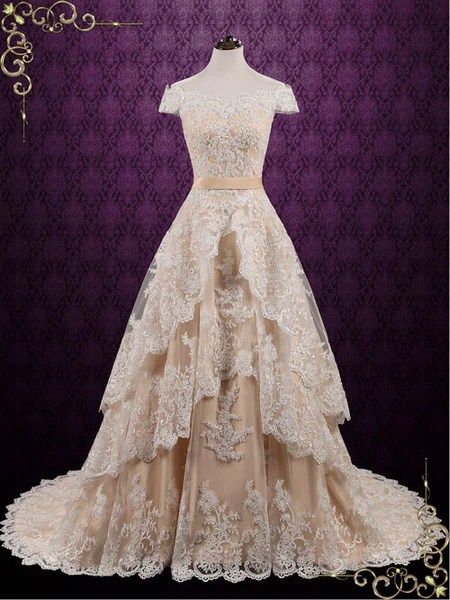 Vintage Lace Wedding Dress With Tiered Skirt Madelyn Ieie