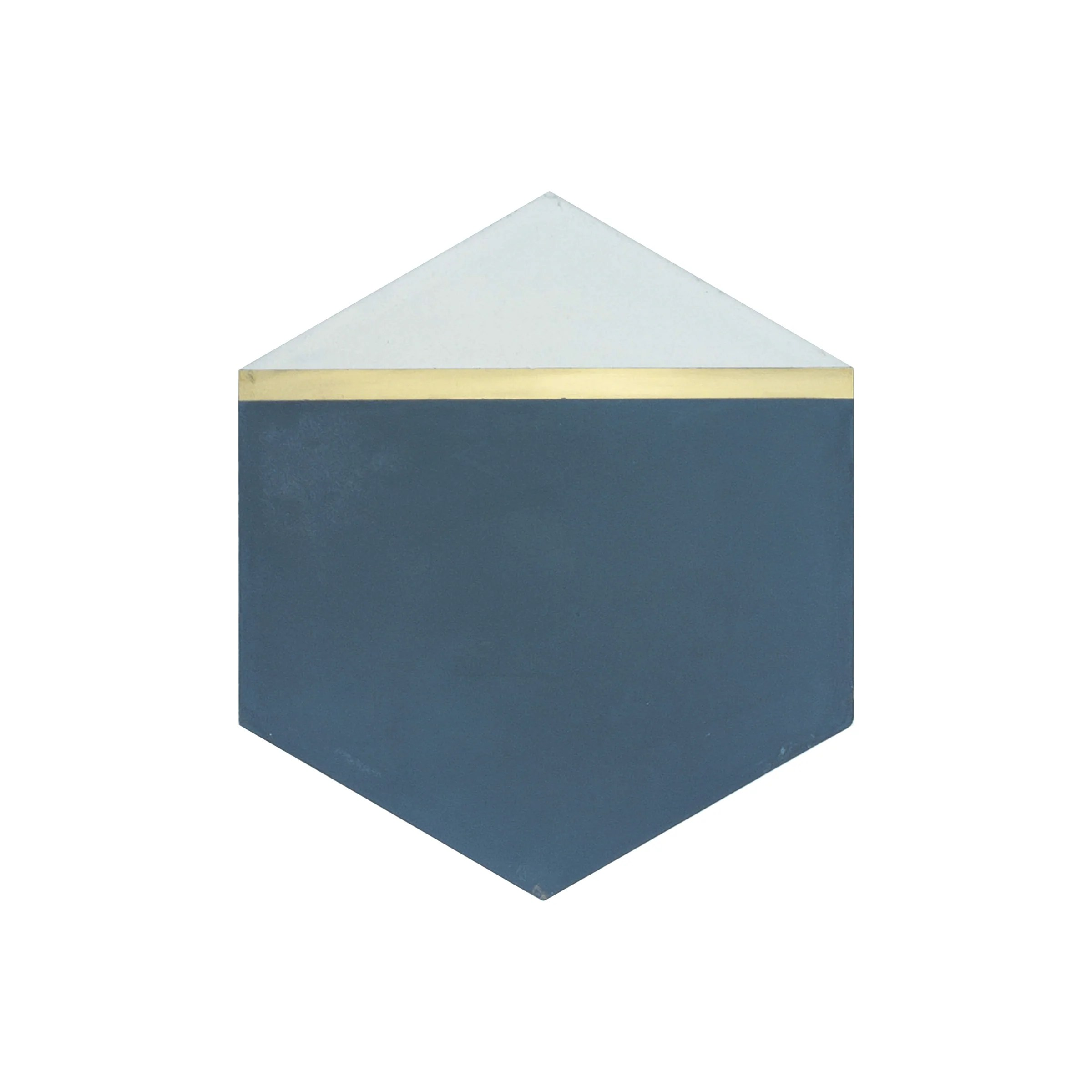 pocket square navy blue hexagon cement tile with brass inlay sample