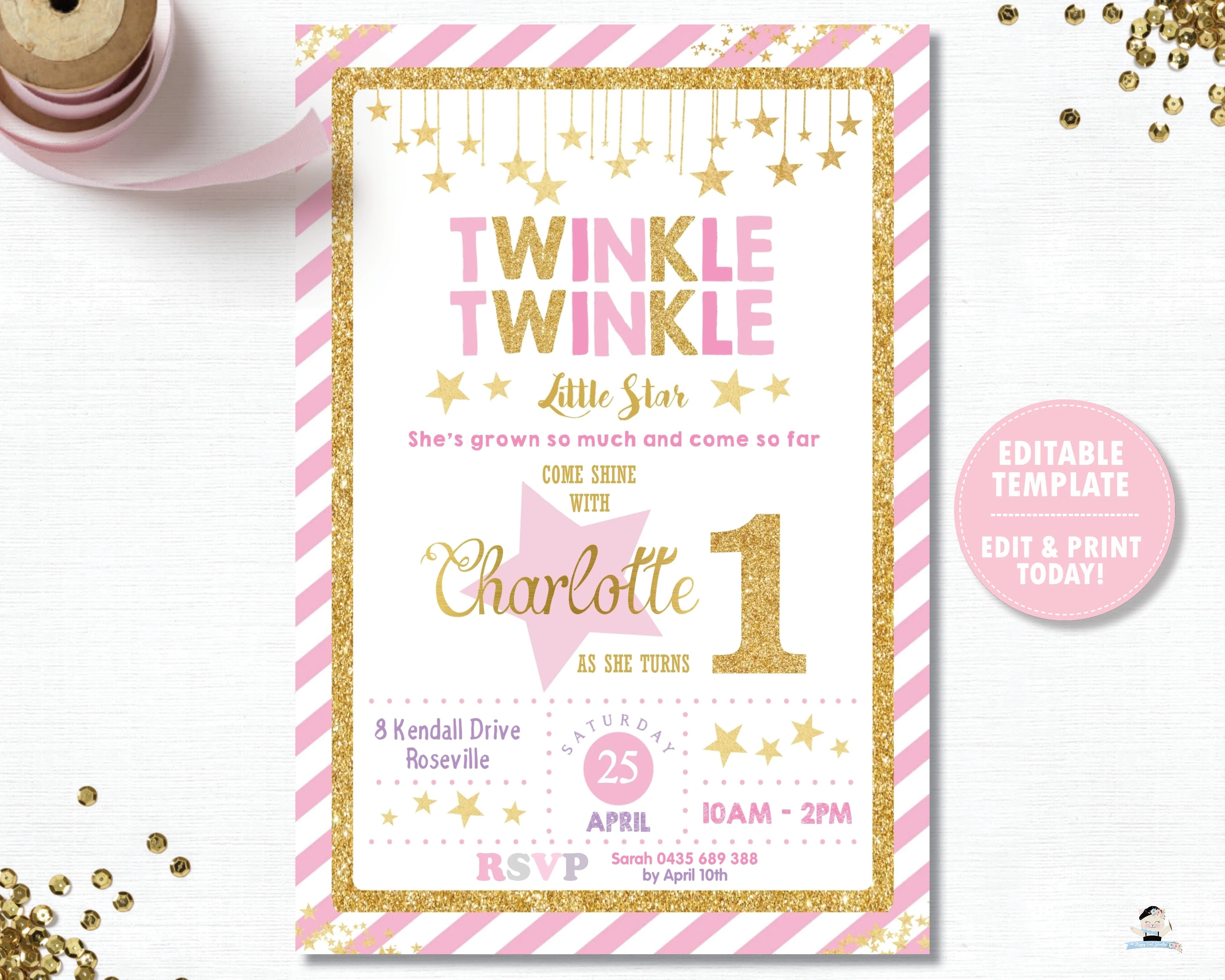 twinkle twinkle little star pink and gold 1st birthday party invitation editable template digital printable file instant download tw1
