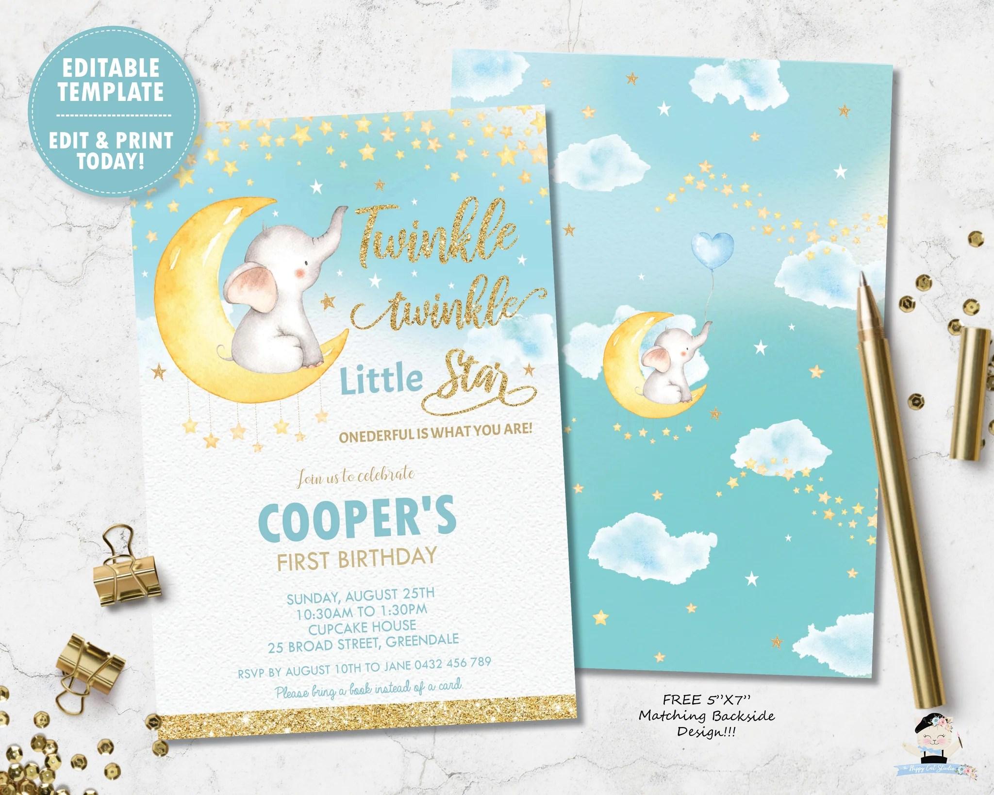 whimsical twinkle twinkle little star elephant boy 1st birthday invitation instant editable template ts1