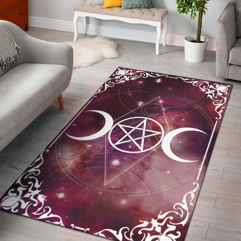 Triple Moon Wicca Area Rug