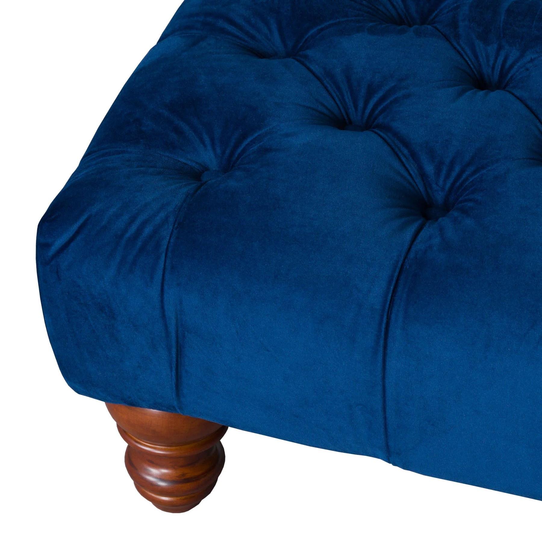 navy blue velvet tufted rectangle ottoman