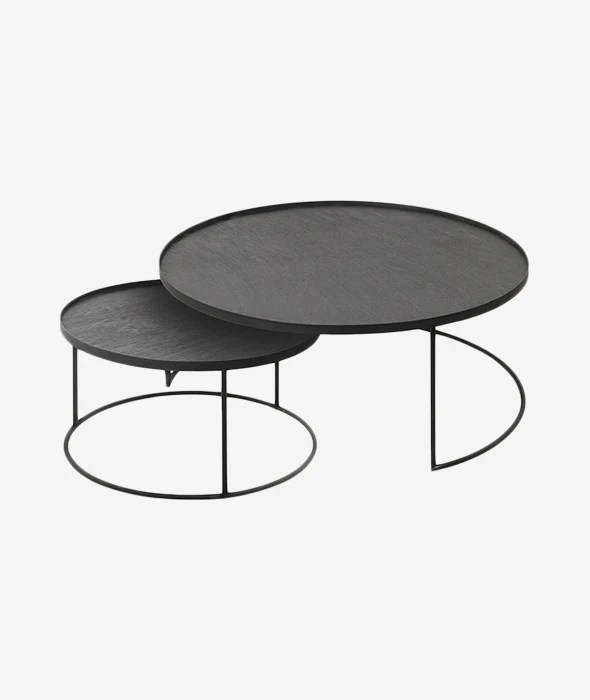 round tray nesting coffee table set 2 2 sizes