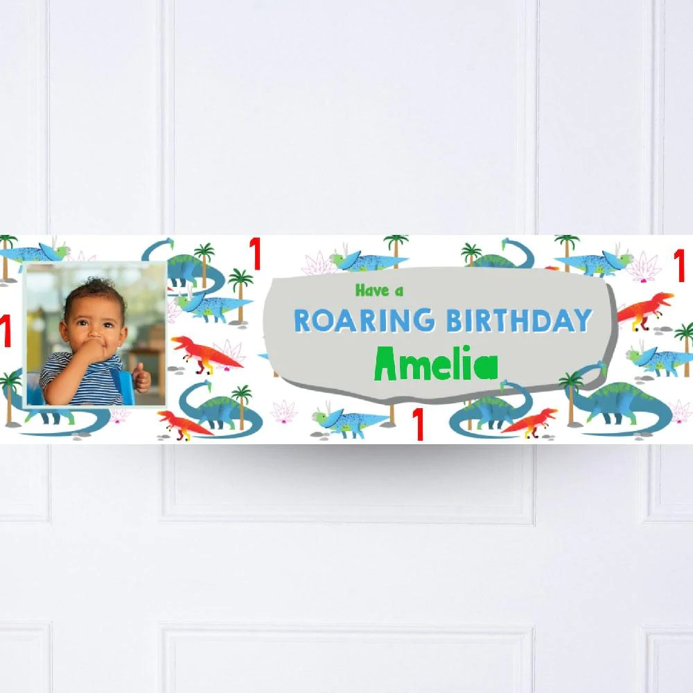 Party Dino Personalised 1st Birthday Banner Dinosaur Party Decorations Personalised Party Party Pieces