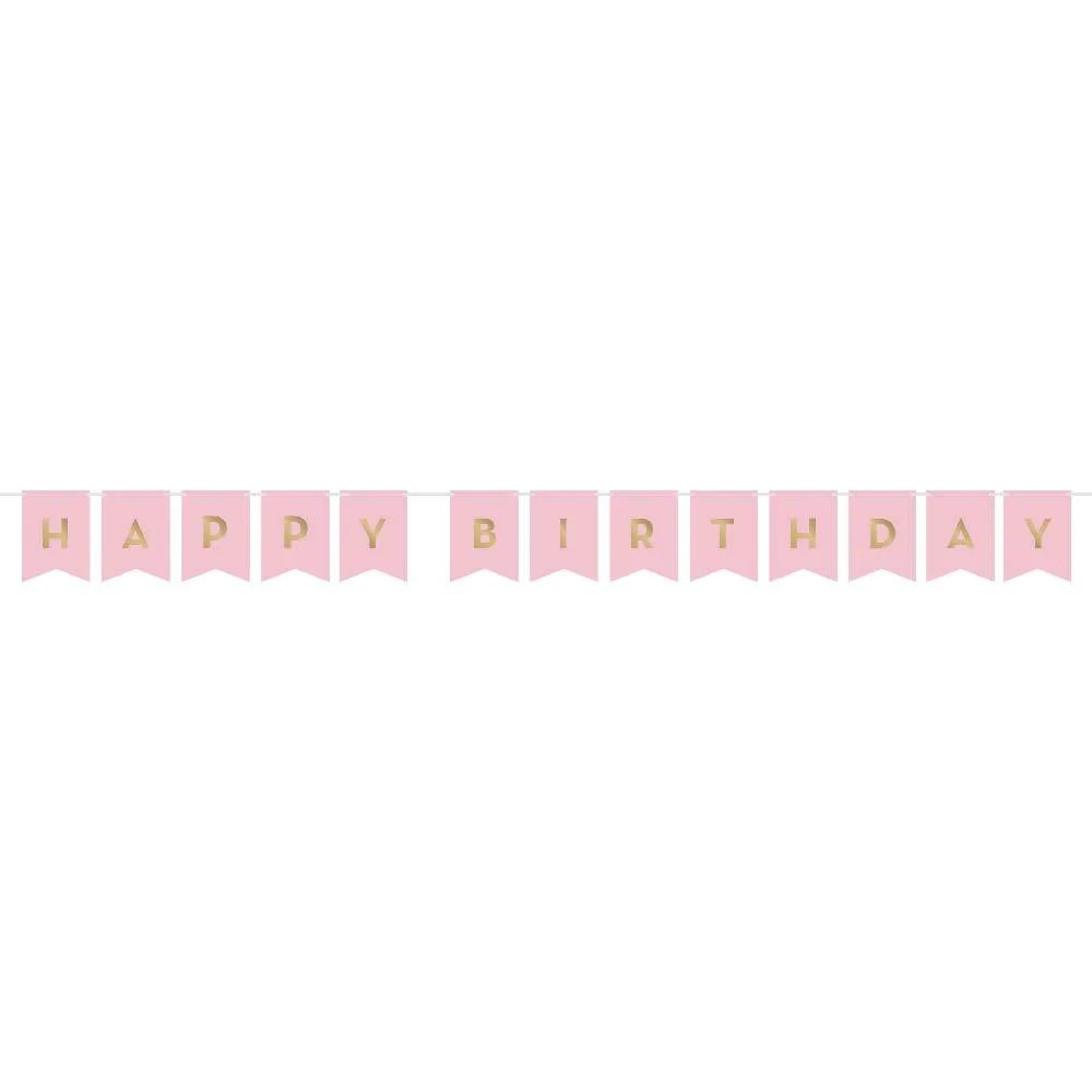 Pink Gold Celebration Happy Birthday Banner Birthday Party Banner Party Supplies Party Pieces