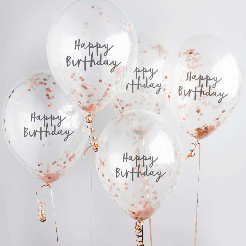 Rose Gold Happy Birthday Confetti Balloon X5 Birthday Balloons Party Supplies Party Pieces