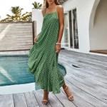 Rochie lungă modernă pentru femei, sexy, cu imprimeu de buline, cu decolteu în V