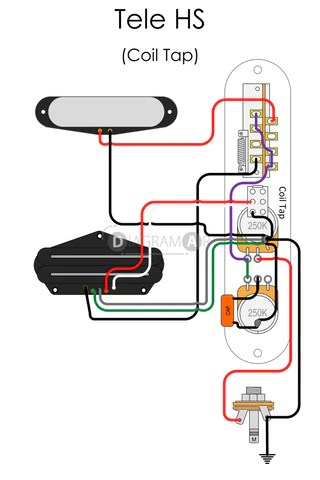 Electric Guitar Wiring: Tele HS (Coil Tap) [Electric Circuit] , Free Sketch  DIAGRAMART AUTHOR
