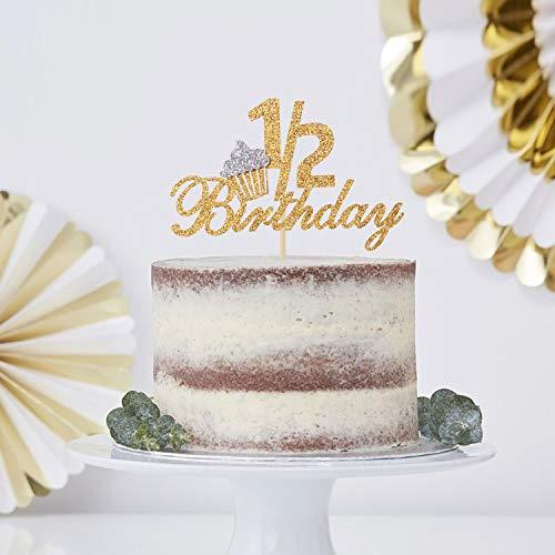 Glitter 1 2 Birthday Cake Topper For Baby S Half Year Old Birthday Par Ninelife Europe