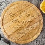 Round Wooden Chopping Board Mr Mrs Design Engraving Excellence