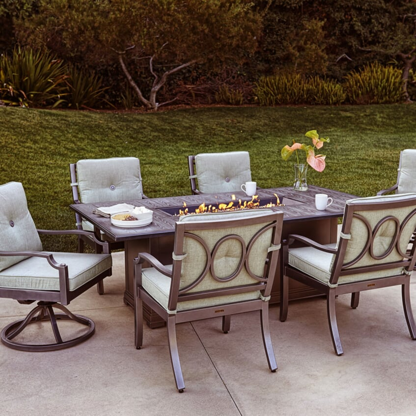 portica 84 rectangle dining fire pit table