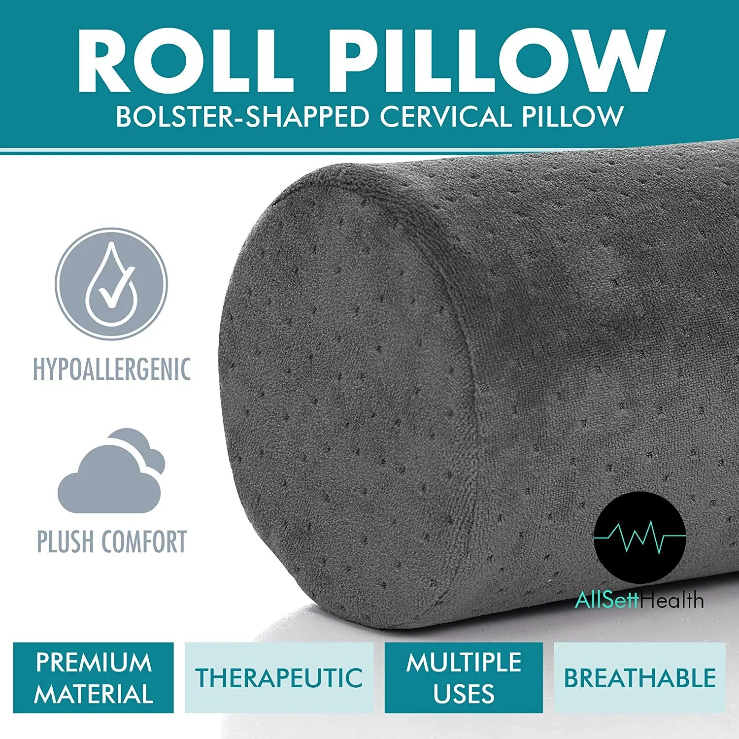 bamboo navy round cervical roll cylinder bolster pillow head back spine neck support gray