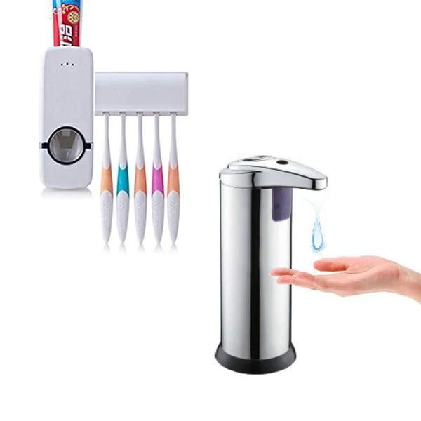 Dozator de sapun cu senzor de miscare + Dozator pasta de dinti cu suport de periute