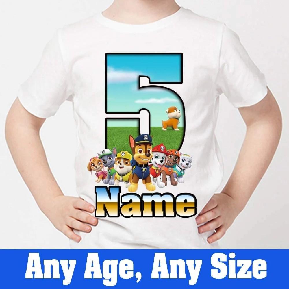 Sprinklecart Personalized Name Printed Paw Patrol 5th Birthday T Shirt