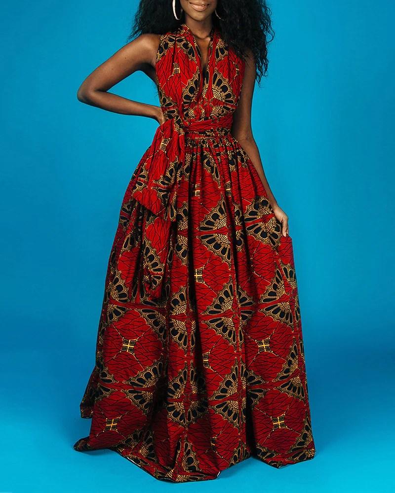 Print Crisscross Halter High Slit Maxi Dress