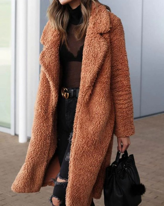 Solid Long Teddy Coat 3