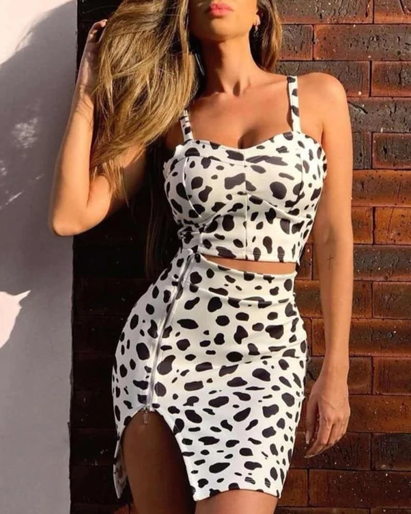 Leopard Print Cami Top & Zipper Slit Skirt Set 11