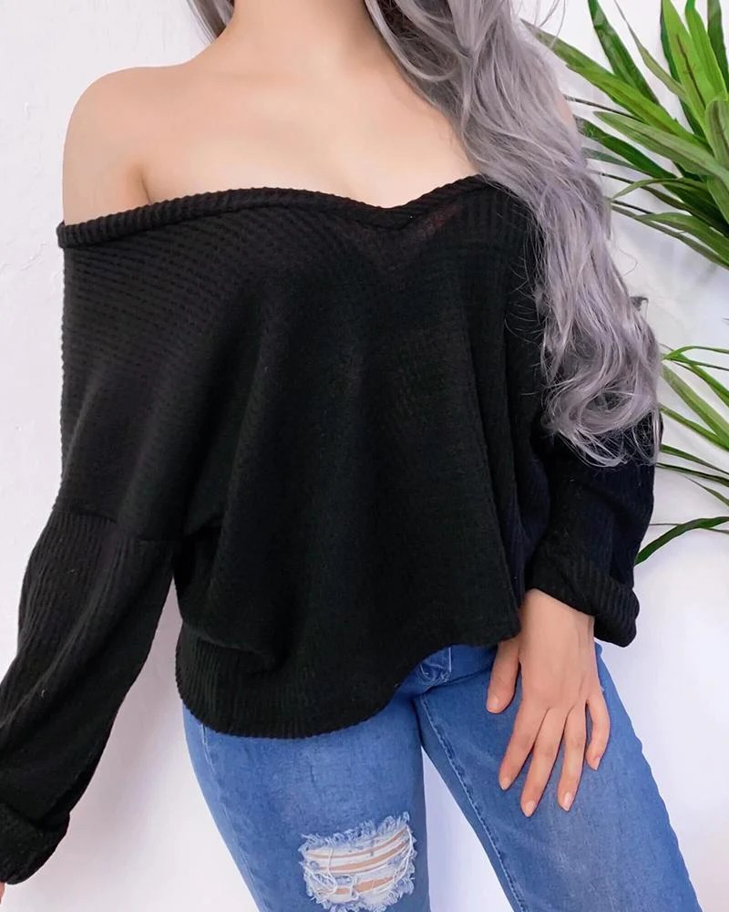 Solid V Neck Ribbed Casual Blouse