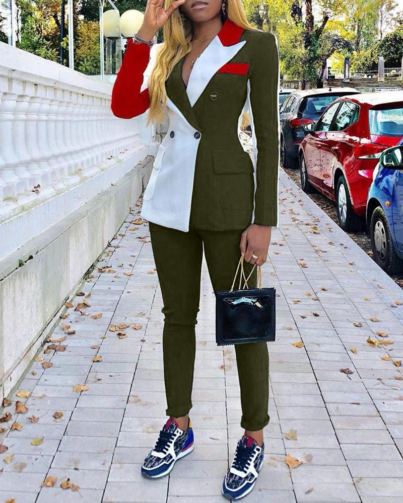 Colorblock Notched Collar Double-breasted Blazer & Pants Sets 4
