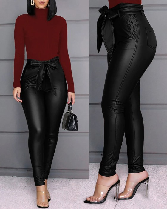 Paperbag Waist Faux Leather Pants 2