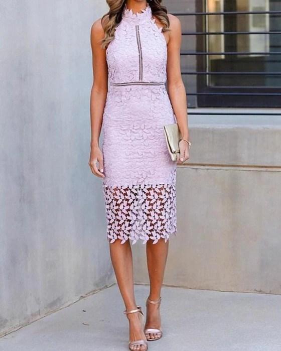 Halter Crochet Lace Hollow Out Midi Dress 13
