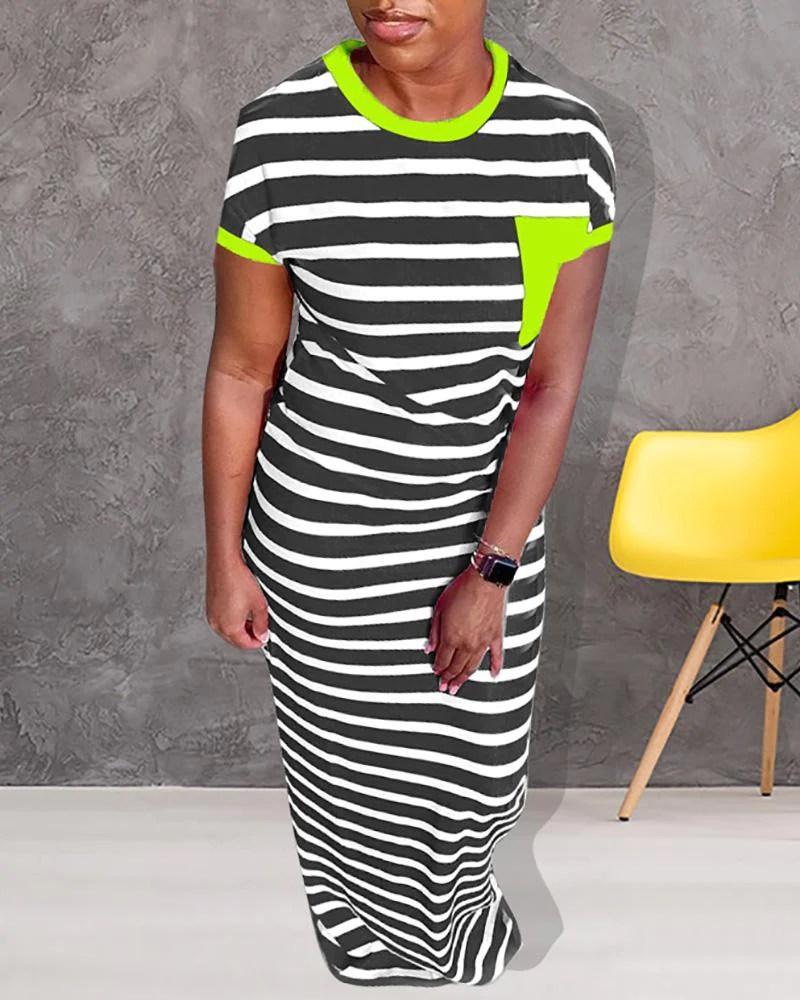 Striped Print Short Sleeve Maxi Dress 3