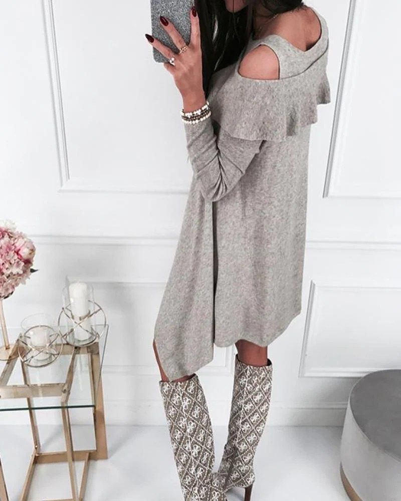 Cold Shoulder Layered Mini Dress