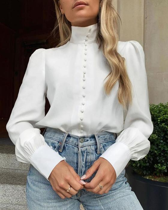 Solid Long Sleeve Single Breasted Blouse 2