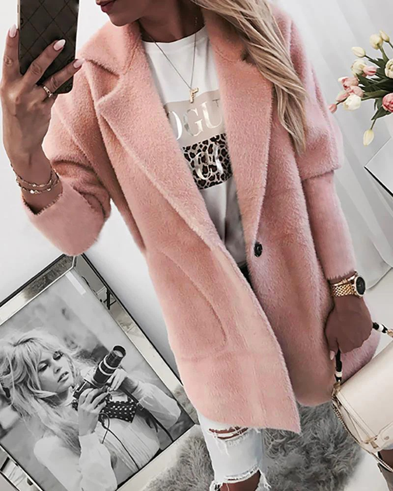 Single Buttoned Long Sleeve Pocket Coat 5