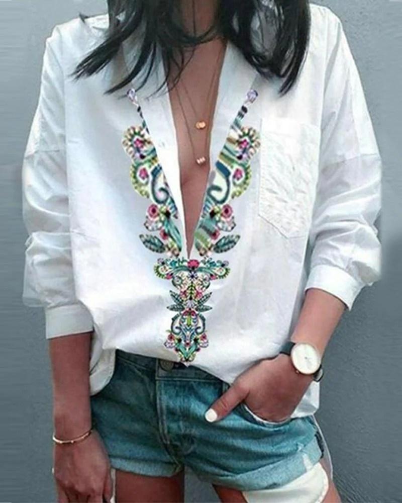 Ethnic Print Deep V Neck Long Sleeve Shirt 1