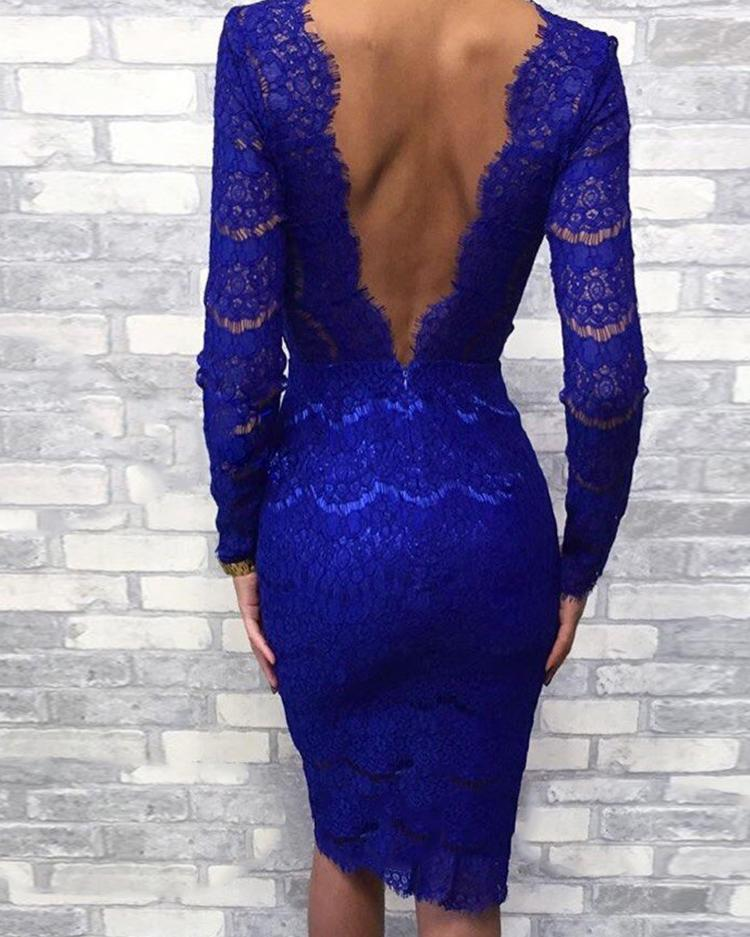Eyelash Lace Open Back Bodycon Dress 6