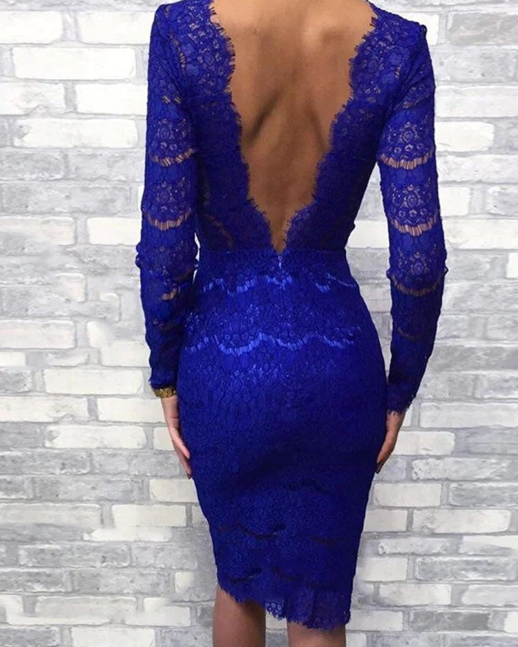Eyelash Lace Open Back Bodycon Dress 7