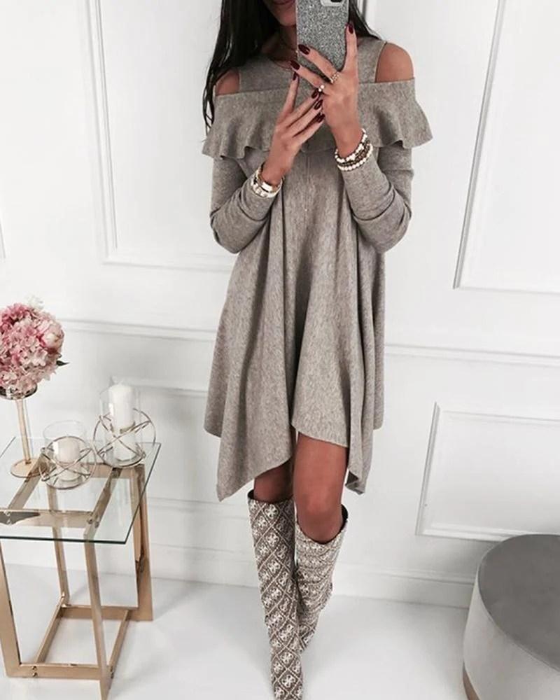 Cold Shoulder Layered Mini Dress 9