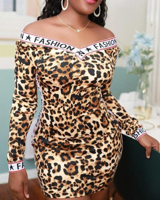 Contrast V Neck Leopard Dress 5
