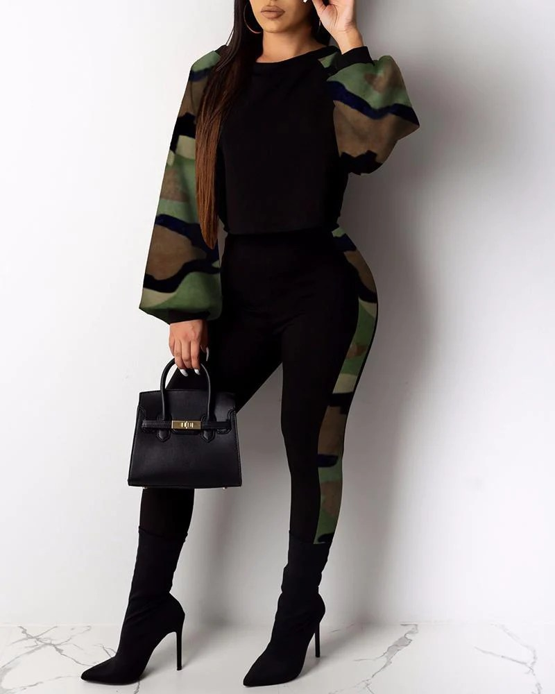 Camouflage Print Insert Top & Pants Sets 3