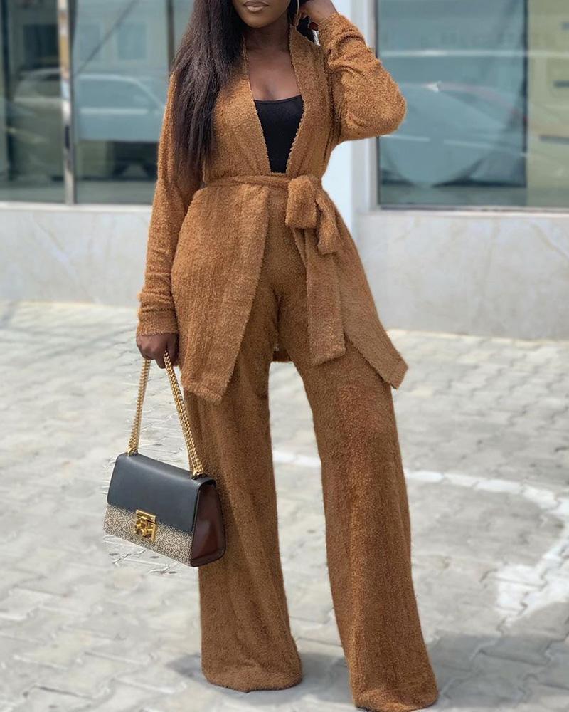 Solid Open Front Fluffy Coat & Wide Leg Pants Sets 4