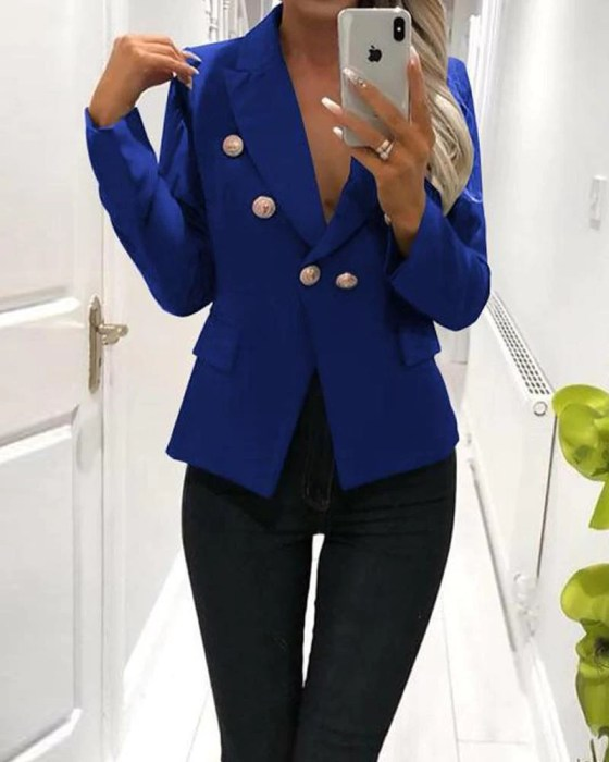 Plain Double Breasted Button Blazer 2
