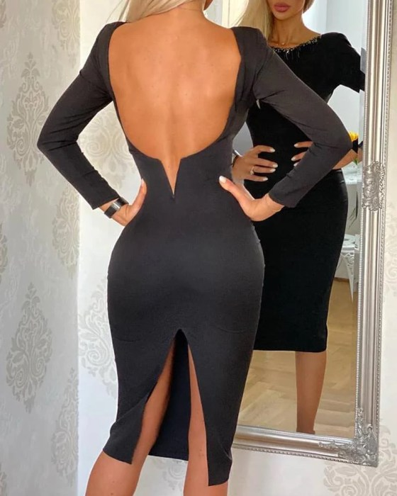 Solid Backless Slit Evening Dress 1
