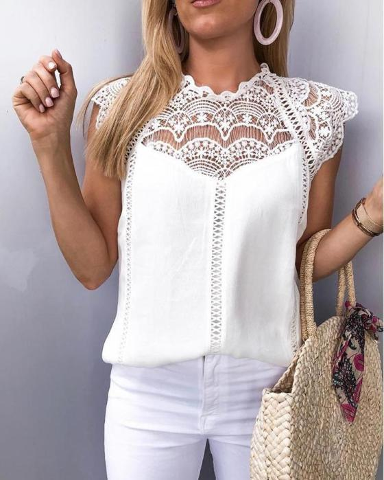 Crochet Lace Trim Splicing Casual Blouse 2