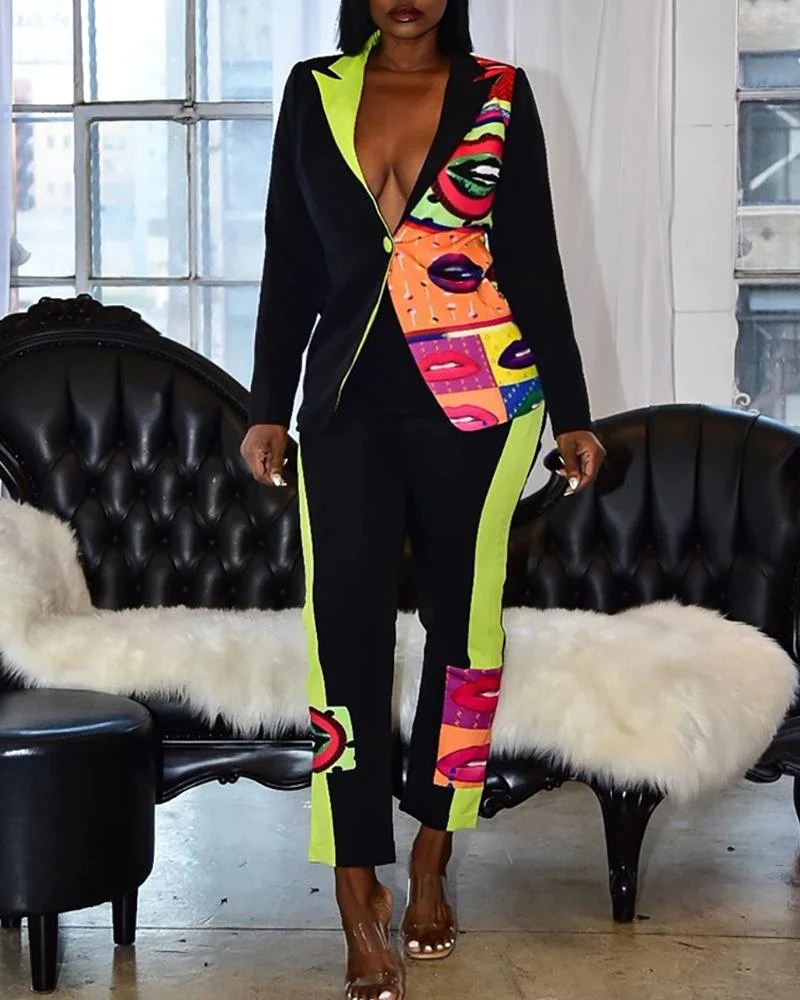Notched Collar Mouth Print Colorblock Blazer & Pants Sets 9